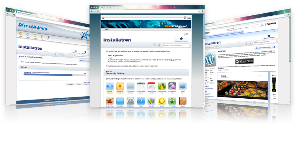 Installatron Plugin is the leading web application auto installer (script installer) for popular web hosting control panels, including cPanel/WHM, DirectAdmin, and Parallels Plesk.